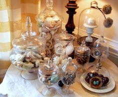 >Coastal Christmas Apothecary Jars | Sally Lee by the Sea (LOVE the furry pom pom tie and the nests under the jar)