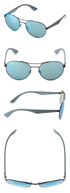 613219ee618 Ray-Ban METAL UNISEX SUNGLASS - MATTE BLACK Frame LIGHT GREEN MIRROR BLUE  Lenses 55mm Non-Polarized