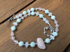 Pastel Bead Necklace, Semi precious gemstone bead necklace, Amazonite Bead Necklace, African Recycled Glass Necklace, Delicate Bead Necklace