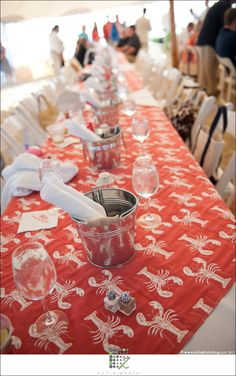 Lobster linens ((no source for the linens--site goes to a catering site)) Jordan McBride provided info re the linens: The linens were rented from a company called Nantucket Party Rentals.