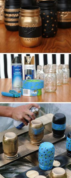 Painted Patterned Mason Jar Containers | Click Pic for 18 DIY Makeup Storage Ideas for Small Bedrooms | Easy Organization Ideas for the Home