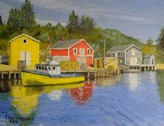 new painting: Docks of Northwest Cove #novascotia. 11 x 14 oil on canvas board. #art #painting #canada #fishing #fishingdock #fishingboat http://jackmckenzieart.blogspot.com/2016/09/new-painting-docks-of-nortwest-cove.html