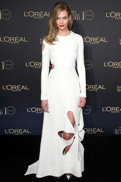 Karlie Kloss in a floral-cut-out Rosie Assoulin  ff7b31f48