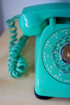 "Turquoise rotary phone - ours were avocado, and black.  Drew just saw one of these for the first time in an antiques store this weekend, and he was so confused as to how to ""dial"" it!"