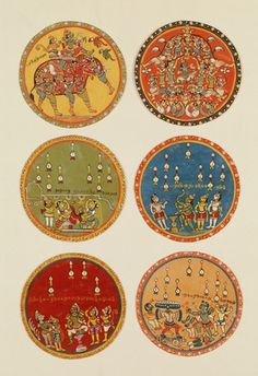 Playing cards, boxes. Hand-made coloured card. India, 16th century.
