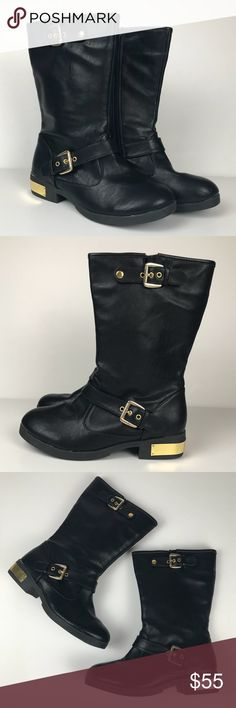 "Esprit Black Icon Moto Inspired Faux Leather Boots Esprit Black Icon Mid Calf Boots Black Faux Leather  Gold Detail on Heel Motorcycle/Moto Inspired Style Women's Size 7 1.5"" Heel  Marks consistent with being worn - See Pictures MSRP $89.00 Esprit Shoes Combat & Moto Boots"