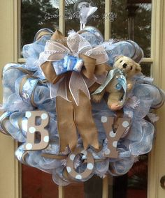 Baby Boy Wreath, Nursery Wreath, Burlap, Shower Gift, Baby Wreath, Boy, Hand Painted Letters, Blue