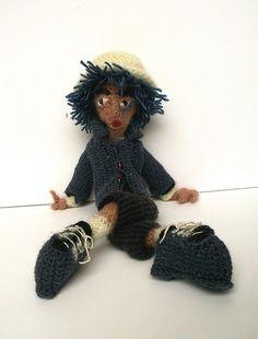 blue crochet man, via Flickr.