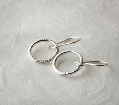 Silver Dangle Hoop Earrings with Hammered Texture £25.00