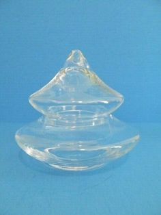 "CONTEMPORARY CANDY DISH BLOWN CLEAR GLASS DECOR 6.5""TALL"