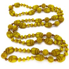 Vintage Art Deco Neiger Brothers Yellow Scarab Egyptian Revival Glass Bead Necklace | Clarice Jewellery | Vintage Costume Jewellery