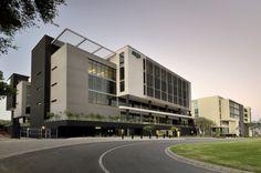 Hospital Architecture, Healthcare Architecture, Office Building Architecture, Industrial Architecture, Building Exterior, Commercial Architecture, Building Facade, Facade Architecture, School Building Design