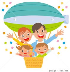 ポップな家族4人が気球から手を広げる