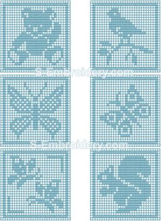 SKU 10366 Crochet square animals embroidery set - A set of 6 free standing lace animals crochet squares. These crochet machine embroidery designs will let you create nice pillow decorations for the kids' room. Crochet Patterns Filet, Crochet Squares, Baby Knitting Patterns, Crochet Motif, Crochet Doilies, Crochet Stitches, Baby Blanket Crochet, Crochet Baby, Knit Crochet