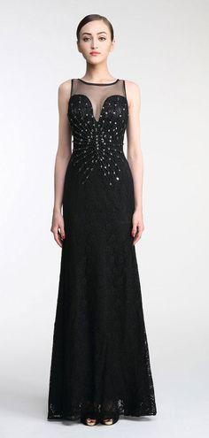 3565b1b753c sexy robe de soirée noire longue encolure illusion orné de bijoux