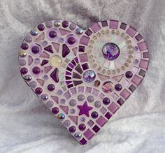 Purple glass mosaic heart shaped box por mimosaico en Etsy