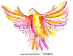 The watercolor illustration of pink, yellow, red pigeon, symbol of the Holy Spirit, isolated on white background