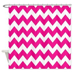 Hot Pink Chevron Stripes Shower Curtain on CafePress.com