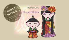 Grille de novembre offerte : Kokeshi Chrysanthème <3