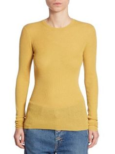 VINCE Ribbed Cashmere Crew Top. #vince #cloth #top