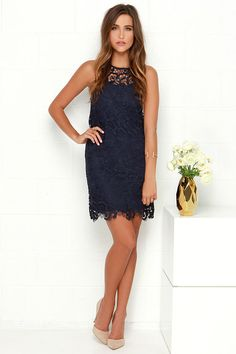 4f14f613e3df Black Swan Pearl Navy Blue Lace Dress