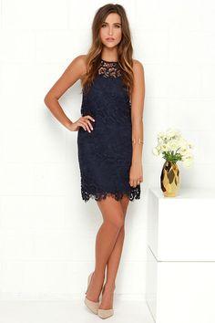 R3: Black Swan Pearl Navy Blue Lace Dress at Lulus.com!
