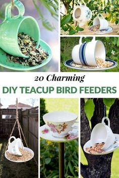 20 CHARMING DIY TEACUP BIRD FEEDERS Spring has finally sprung and having a teacup bird feeder in your yard is a great way to attract beautiful winged friends! The great thing about DIY teacup bird feeders is that they are super easy to make and add some a Diy Bird Bath, Bird Bath Garden, Homemade Bird Feeders, Diy Bird Feeder, Teacup Bird Feeders, Rustic Bird Feeders, Garden Crafts, Garden Projects, Diy Projects
