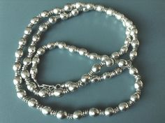 Ethiopian antique silver Channel type of necklace made of the silver prayer beads of the musbaha (prayer beads necklace. by Shebastreasures650 on Etsy