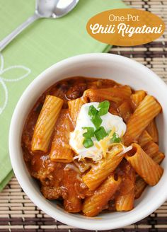 This One-Pot Chili Rigatoni would be amazing with a dollop of Greek Yogurt (instead of sour cream)!
