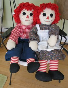 """1970's handmade Ann and Andy, 36"""" tall, as seen on Etsy."""
