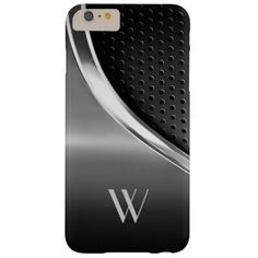Modern Metallic Look Monogrammed Barely There iPhone 6 Plus Case - Sold at DancingPelican on Zazzle.