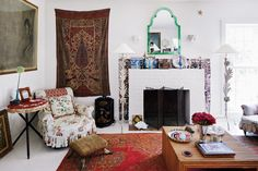 Exquisite Pleasures - The living room, with a sofa and armchairs covered in a chintz - The New York Times