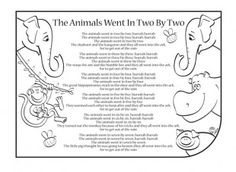 Nursery rhymes are a great way to introduce your child to rhythm, music and early literacy and numeracy skills. Print this nursery rhyme activity, so your child can have fun singing along to the lyrics of The Animals Went In (Two By Two)!
