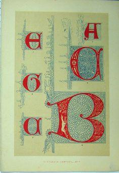 [C1882 Colour Print Calligrahy Fifteenth Century Design]