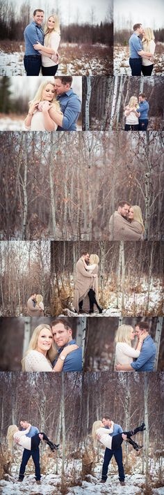 Woodsy winter engagement photos