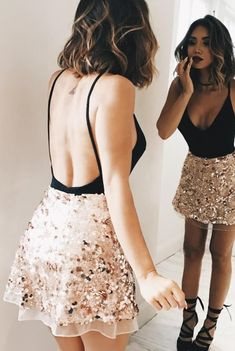Living for this gold sequin skirt!!