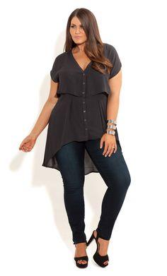 City Chic - CROPPED LAYERED SHIRT - Women's plus size fashion