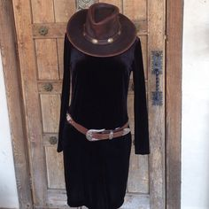 """BR Functional Black Velvet Dress Banana Republic, Poly/Spandex, High Scoop neck in front, V-neck in the back, cute Belted or not, Tea Length- 38"""" Long, 24"""" Sleeve, 18"""" Bust, 16"""" Waist, 19"""" Bumm, Size M Banana Republic Dresses"""