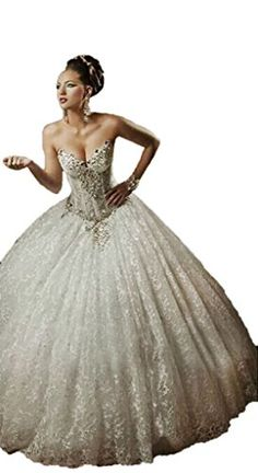 Magydre Women's Sweetheart Rhinestones Lace Ball Gown Quinceanera Dress White US16 Magydre http://www.amazon.com/dp/B00UL0E8TI/ref=cm_sw_r_pi_dp_o-spwb013M958