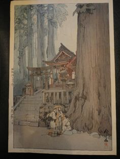Hiroshi Yoshida Misty Day in Nikko Japanese Woodblock Print Shin Hanga