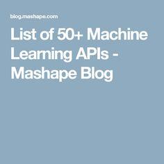List of 50+ Machine Learning APIs - Mashape Blog