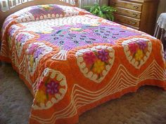 gawgous!!!! Peacock Chenille vivid colors bedspread- 95X103 inches- 1950's. $269.00, via Etsy.