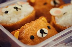 After I made Totoro inari-zushi, I had more inari-zushi skins left, so I decided to make some very very easy character inari-zushi the day after. Character inari-zushi Rilakkuma inari-zushi I must admit, I'm not that big fan of Rilakkuma. Cute Food, I Love Food, Good Food, Yummy Food, Japanese Snacks, Japanese Food, Japanese Recipes, Cute Bento Boxes, Bento Recipes