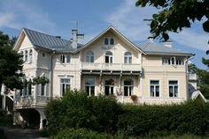 Villa Thalatta, Hanko, Finland Wooden Buildings, Pavilion, Finland, Colonial, Countryside, Terrace, Villa, Castle, Art Deco