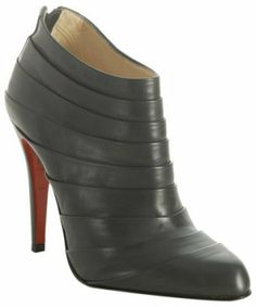 Christian Louboutin grey pleated leather 'Orniron' booties on shopstyle.com