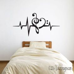 Heartbeat music note wall decal music wall decal by ValdonImages Heartbeat Music Note Wandtattoo Musik Wandtattoo von ValdonImages Wall Painting Decor, Diy Wall Decor, Home Decor, Art Decor, Teen Room Decor, Bedroom Decor, Bedroom Ideas, Teen Rooms, Music Bedroom