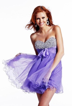 New Fashion A-line Sweetheart Beaded Bow decorated Tulle 2013 Short Prom Dresses/Homecoming Dresses Under $200 PD-2289 - Cocktail Dresses - Special Occasion Dresses