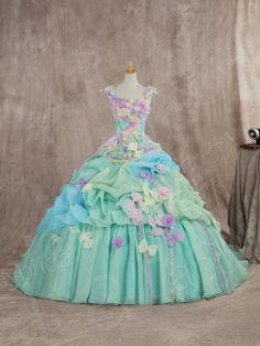 カラードレス プリンセスライン グリーン リボンいっぱい 袖付き 多色組み合わせ 可愛いデザイン JWJT14001