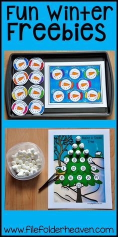 Fun, Hands-On Winter themed freebies for centers and workstations this month! Early Learning Activities, Language Activities, Educational Activities, Math Activities, Preschool Winter, Preschool Kindergarten, Preschool Activities, File Folder Activities, File Folder Games