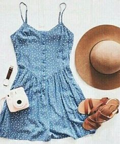 denim summer cute dress+hat
